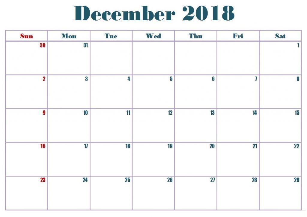 Blank December 2018 Word Calendar 2018 Calendars Pinterest