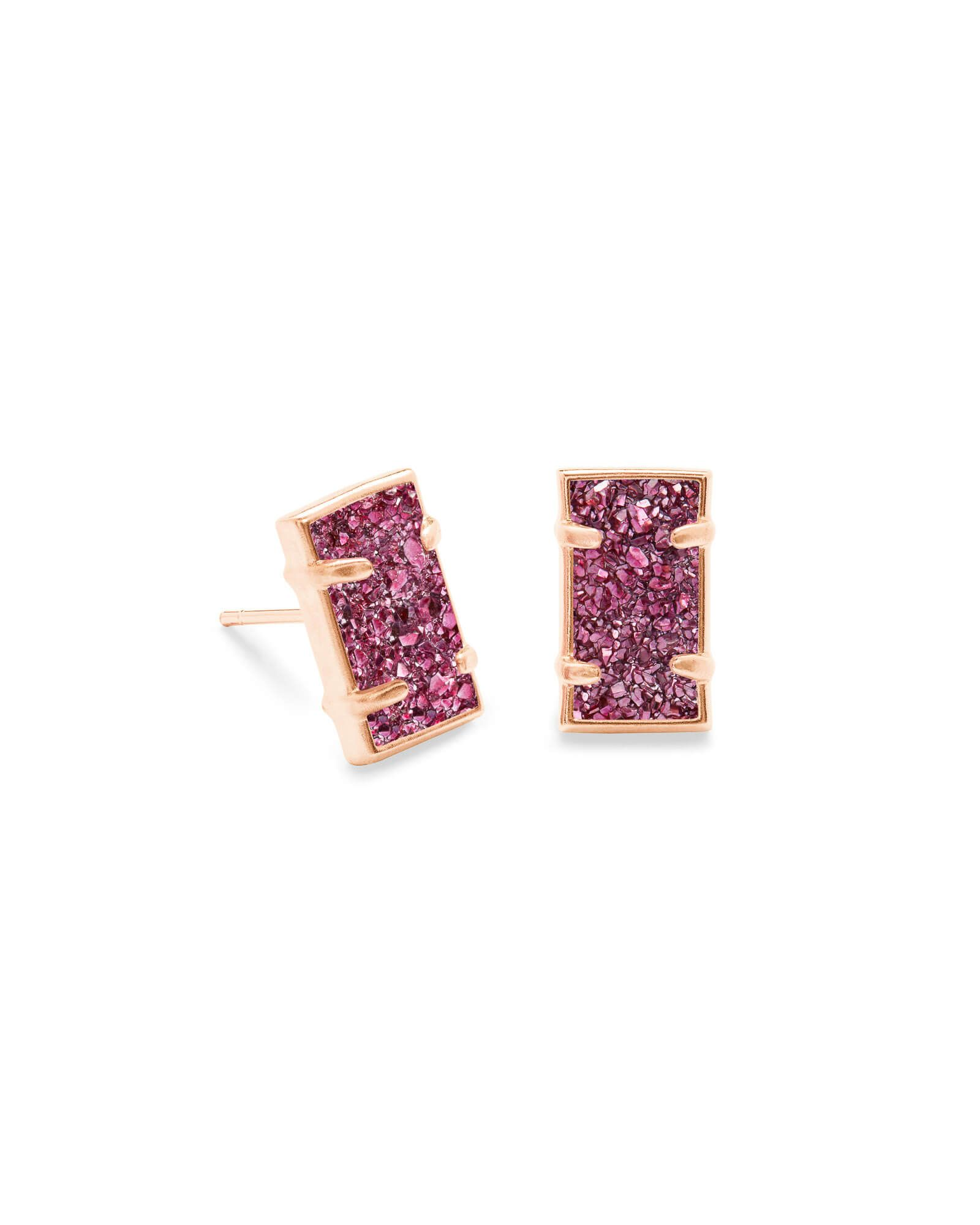 018d04996d690 Kendra Scott | Paola Rose Gold Stud Earrings in Deep Fuchsia Drusy ...
