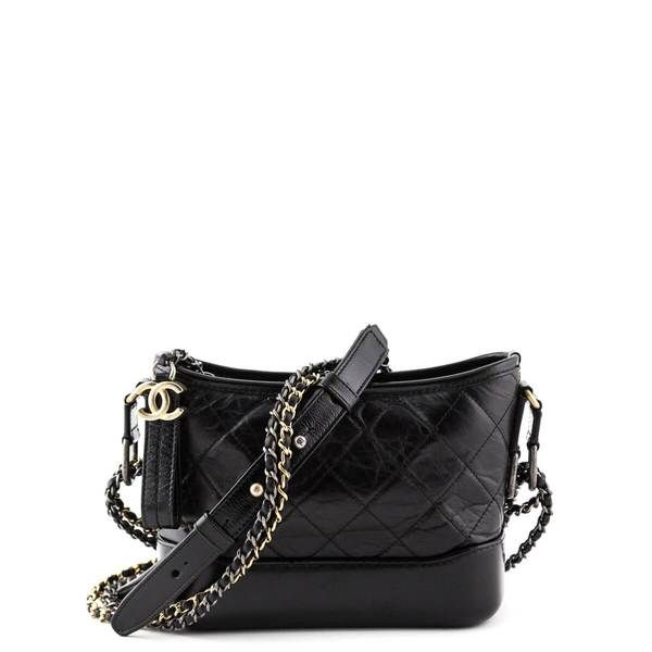 ac60d09f717a Chanel Black Aged Calfskin Small Gabrielle Hobo Bag - LOVE that BAG - Preowned  Authentic Designer
