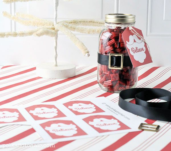 Santa Mason Jar Christmas Gift Ideas  Christmas Tags Mason jar