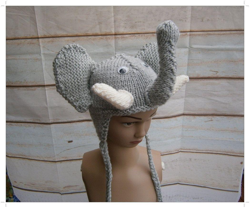 Elephant Hat, Hand Knitted Child Elephant Hat, Sizes 3-4 ...