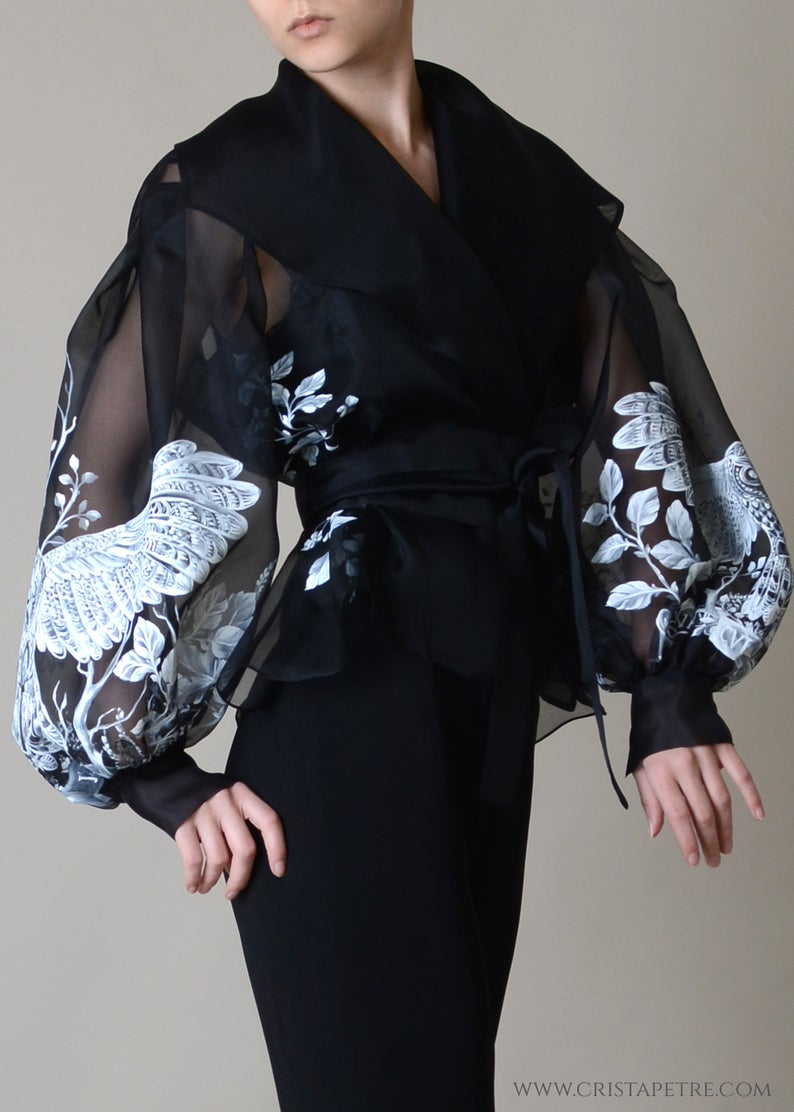 Photo of Silk organza Jacket ; Hand painted elegant blouse ; Veste en