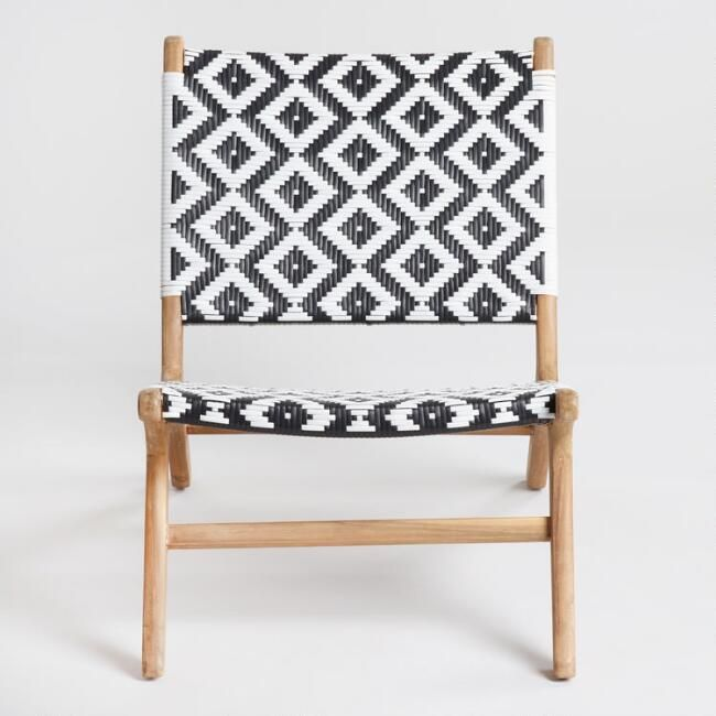 Magnificent Black And White Strap Girona Outdoor Accent Chairs Set Of 2 Customarchery Wood Chair Design Ideas Customarcherynet