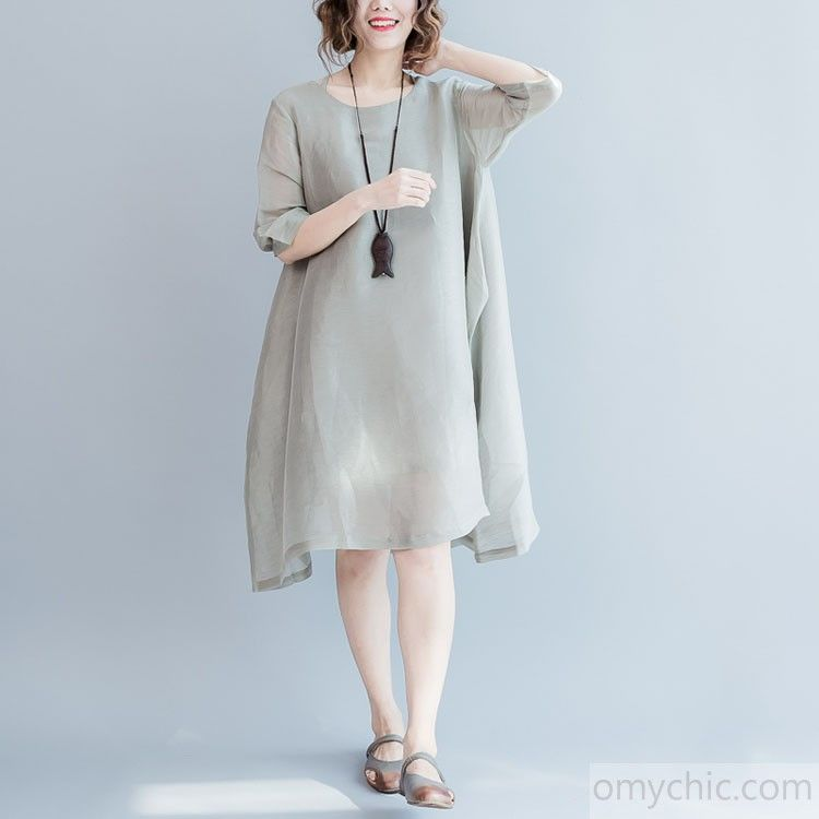 def0f890b57 2017 gray flowy summer dresses casual oversize baggy thin silk sundresses