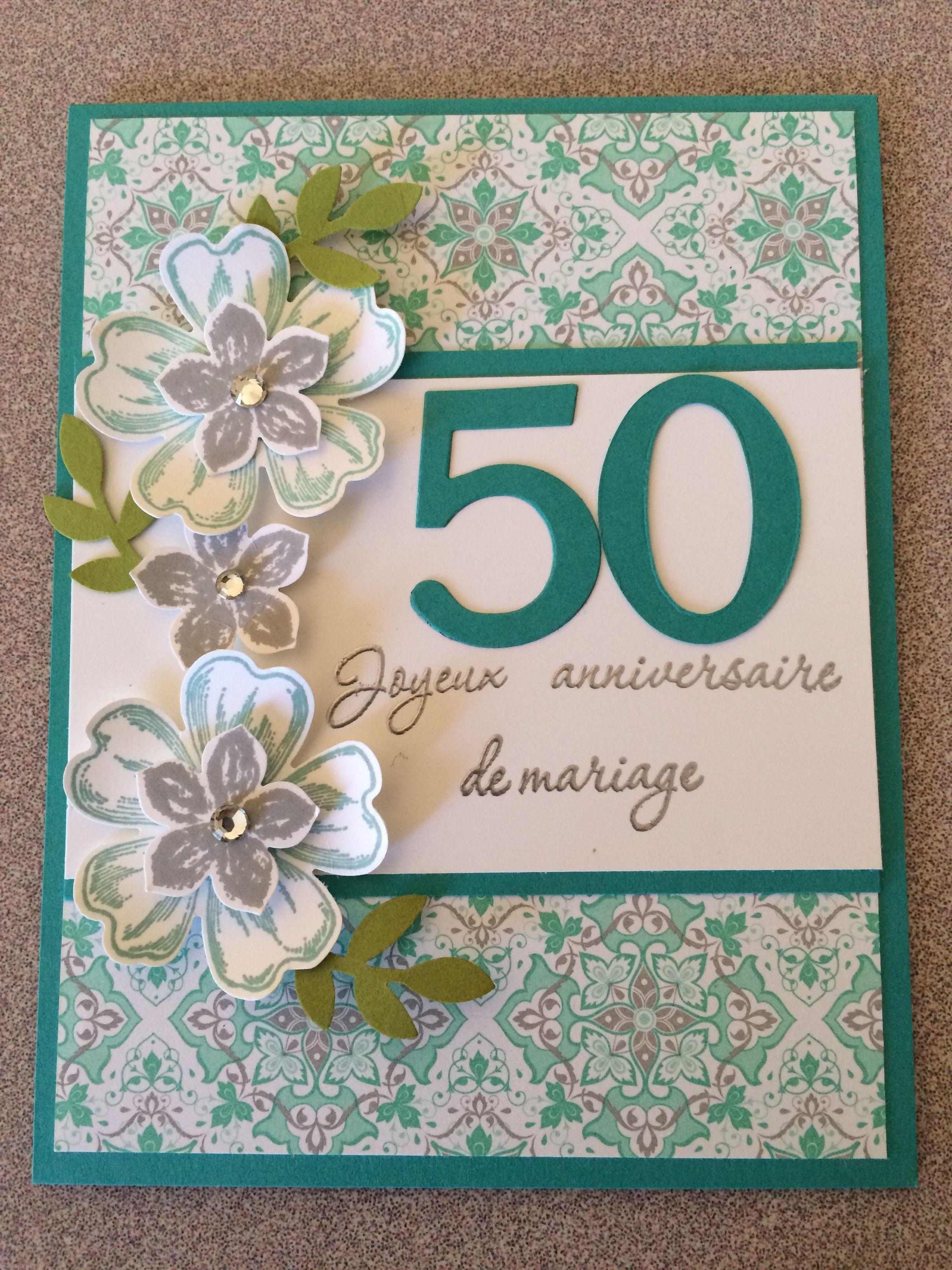Stampin up carte 50 anniversaire de mariage carte for 50e anniversaire de mariage
