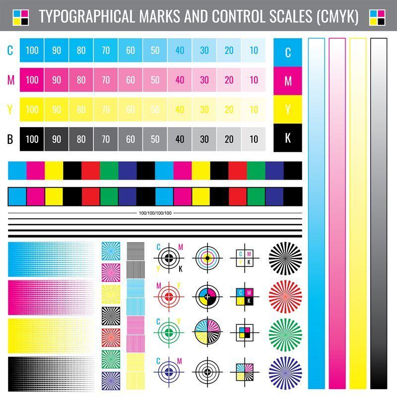 Calibration printing crop marks. CMYK color test vector