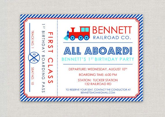 modern train ticket birthday party invitation by announcingyou