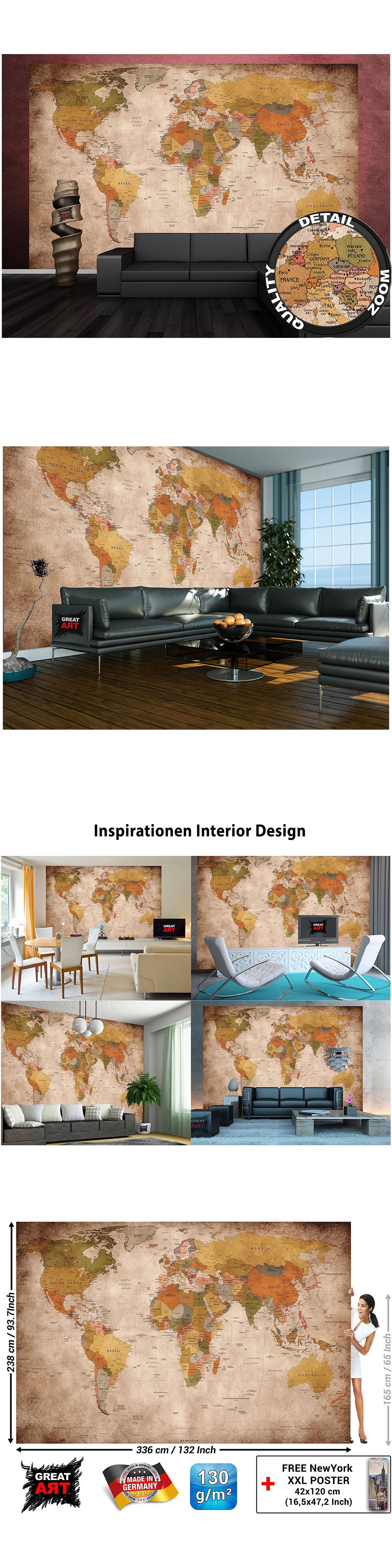 Household items xlarge world wall map vintage home decor art household items xlarge world wall map vintage home decor art painting classic mural dining room gumiabroncs Gallery