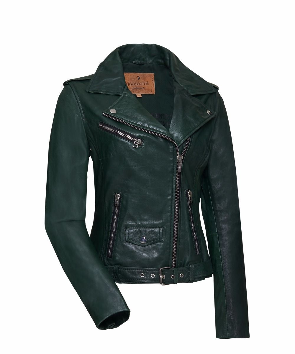 Leather Goosecraft Women Perfecto101 Jackets Bottle Green Front
