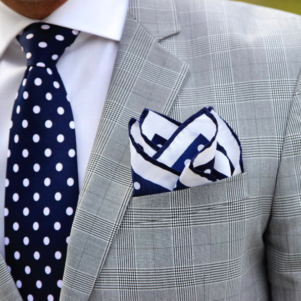 35077c48 Coordinating polka dot tie and pocket square in navy and white ...