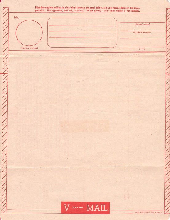 A Blank Wwii VMail Form The Letter Had To Fit Within The Margins