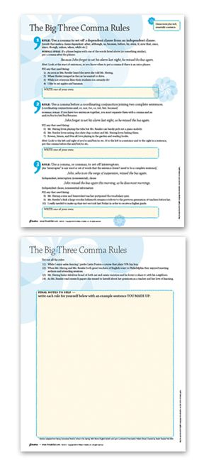 Free Download From The Amazing Vocab Gal The Big Three Comma Rules
