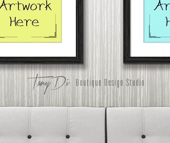 11x14 22x28 33x42 White Sofa Wall Interior #1, Black Frames Canvas ...