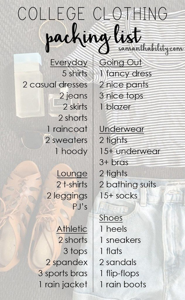 College Clothing Packing List  Dorm College And Room Ideas
