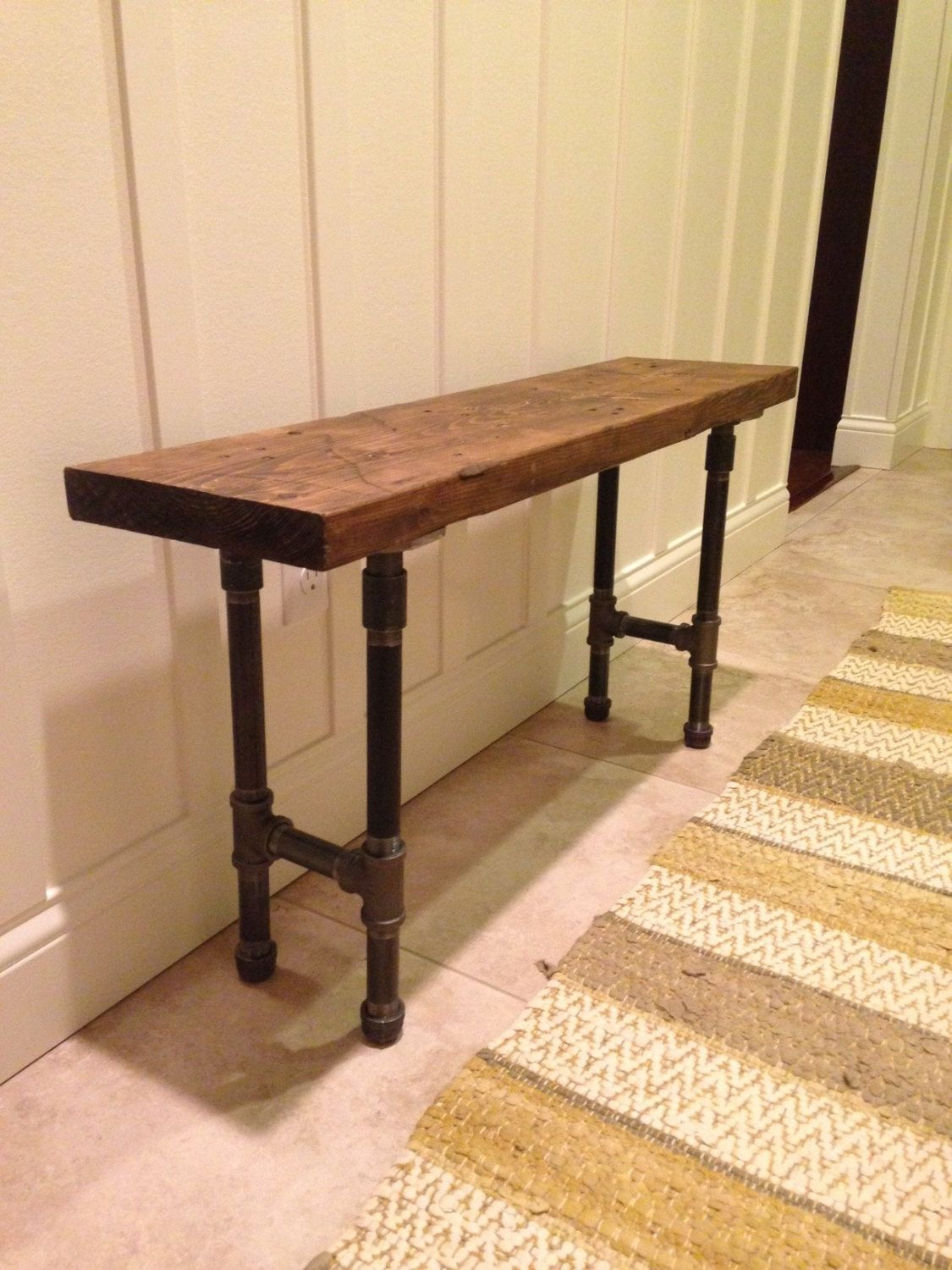 iron pipe furniture. Distressed Reclaimed Wood Black Iron Pipe Bench FREE By CRJDesign Furniture F