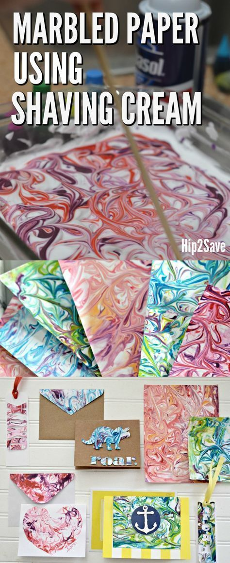 How to Marble Paper Using Shaving Cream (FUN Craft Idea!) - Hip2Save #paperprojects