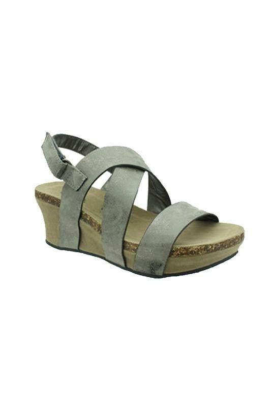 Pewter Sandal Wedge Size 11-4