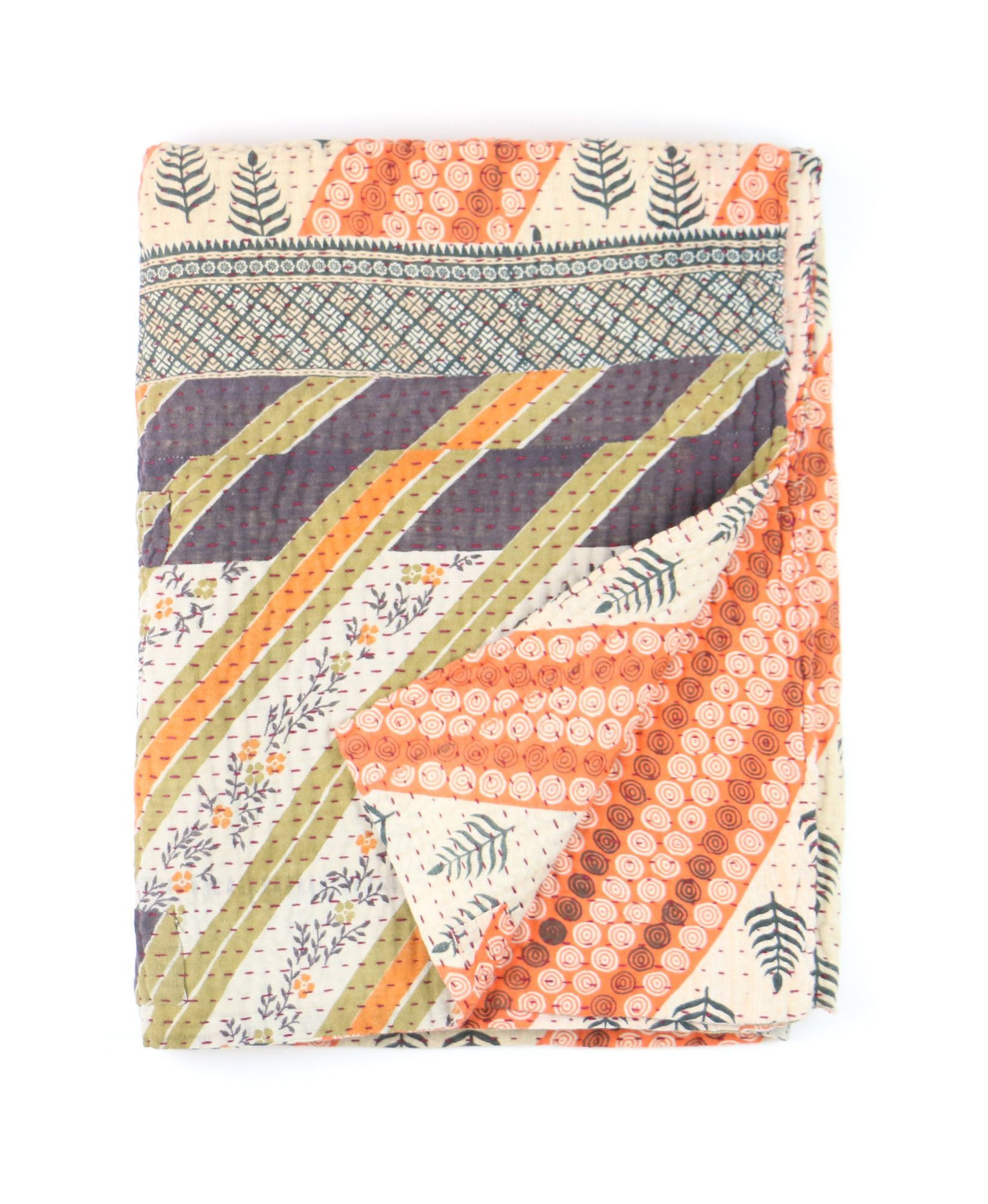 Kantha throw quilt, perfect for any gender. Varying colors and patterns make it a unique piece.