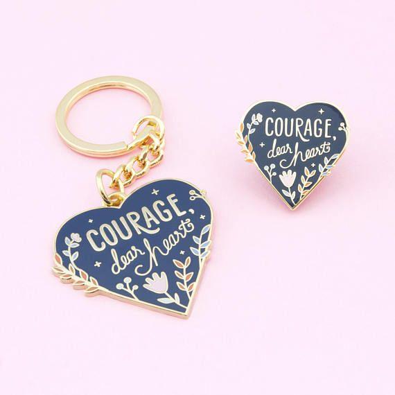 courage pin and keychain set narnia keychain narnia pin