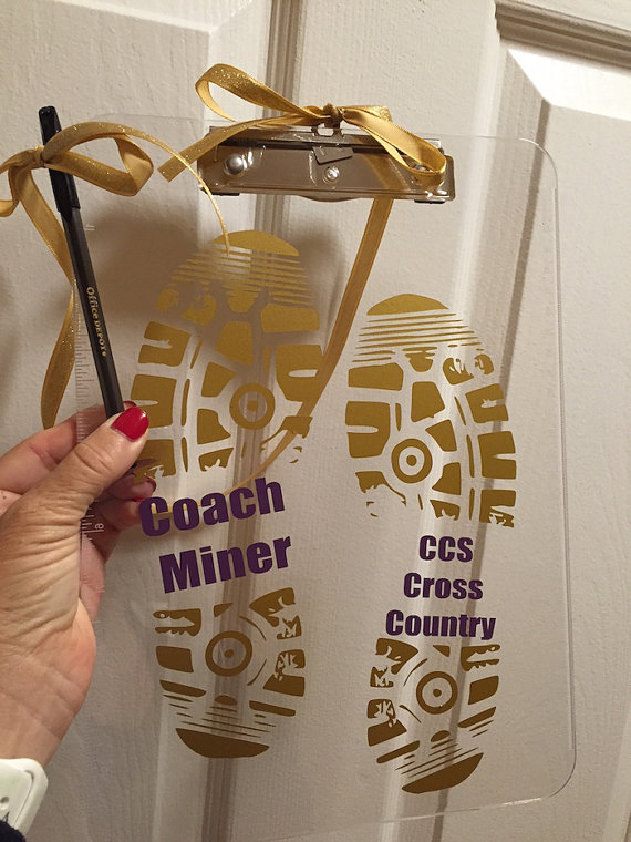 Cross Country Coach Gift Personalized Clipboard Volleyball Coach Dance Soccer Any Sport On Back Or Front Clipboard Coach Gift Teacher Gift