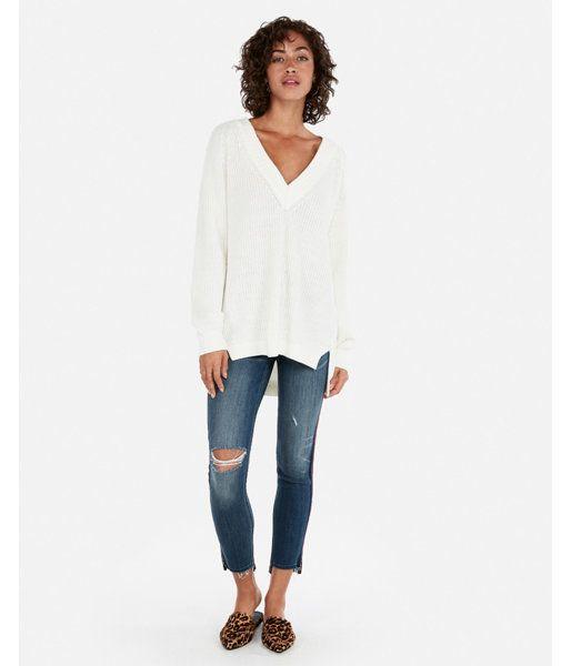 8609f78eb Petite Oversized Shaker Knit Deep V-Neck Tunic Sweater Neutral Women s XXS  Petite