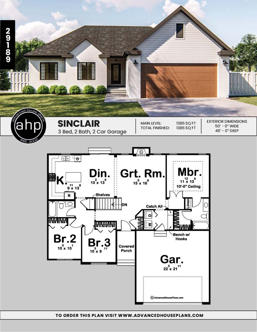 1 Story Modern Farmhouse House Plan Sinclair House Plans Farmhouse Craftsman House Plans House Blueprints