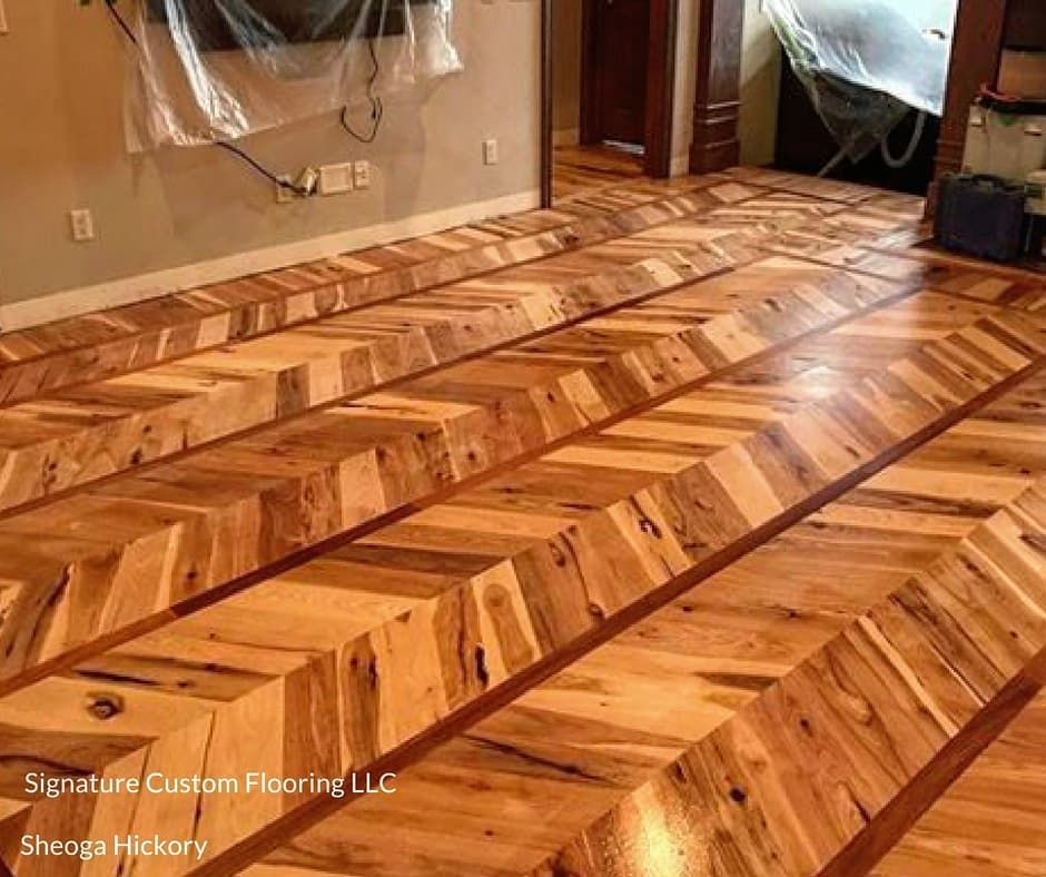 Hickory Chevron Signature Custom Floors Out Of Stevens Point Wi
