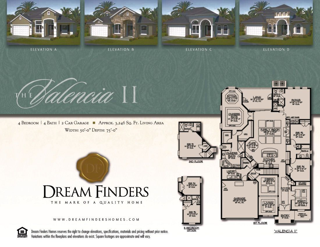 Dream Finders Homes Valencia Ii Model Floor Plan Elevation D With Side Garage Shea Homes House Styles Floor Plans