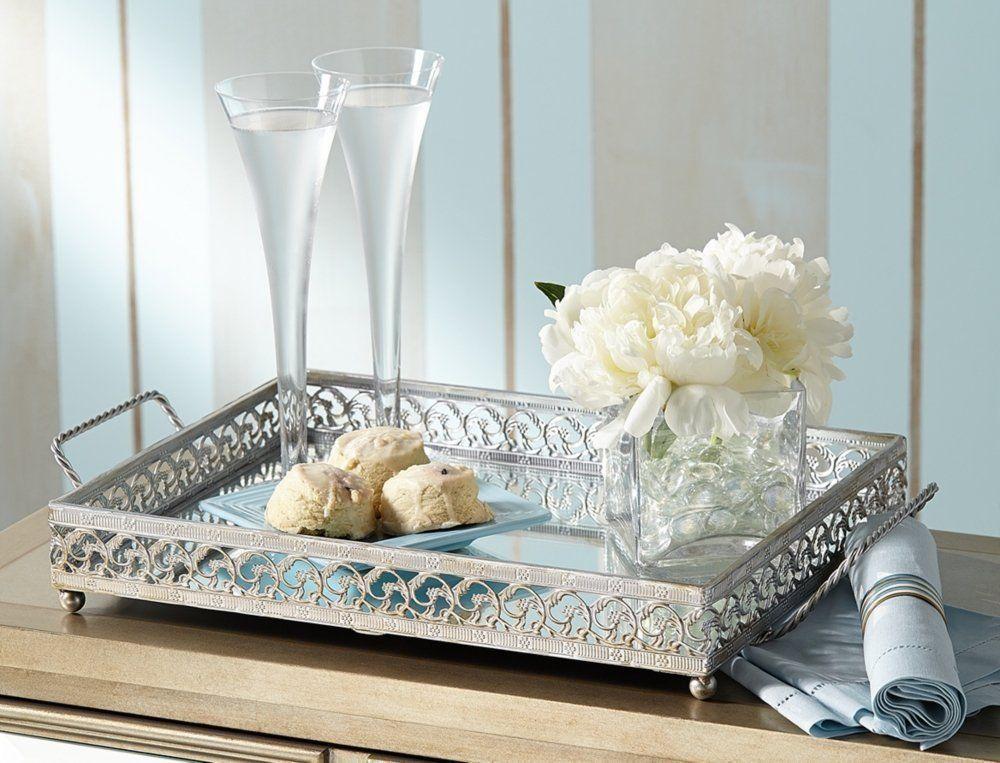 New Silver Mirror Vanity Tray Perfume Bathroom Storage