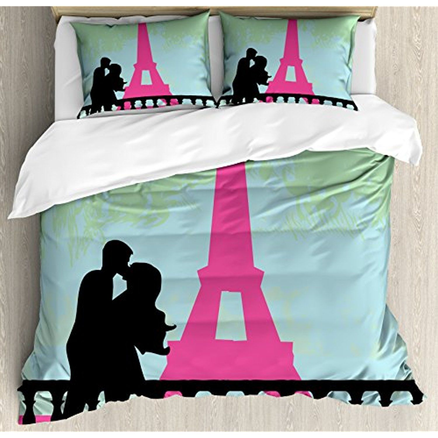 Kiss Queen Size Duvet Cover Set by Ambesonne Couple in Paris