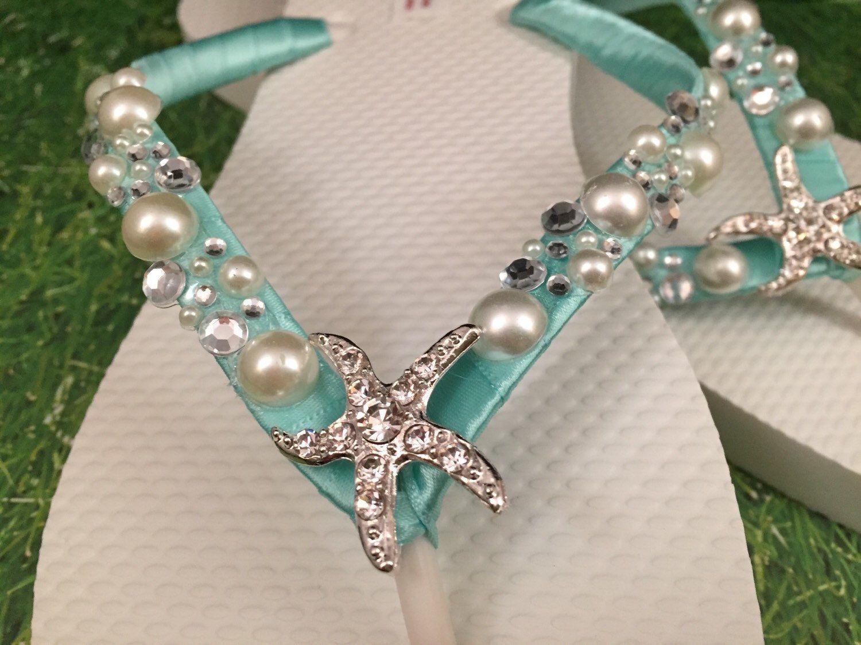 f2e5bc29dc5e NEW 2013 So Sweet Bride Shoshanna Starfish Pearl and Swarovski Crystal  Bridal Wedding Flip Flops.  34.95