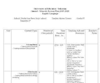 خطة اللغة الانجليزية للصف الرابع الاساسي الفصل الاول 2019 2020 Notes