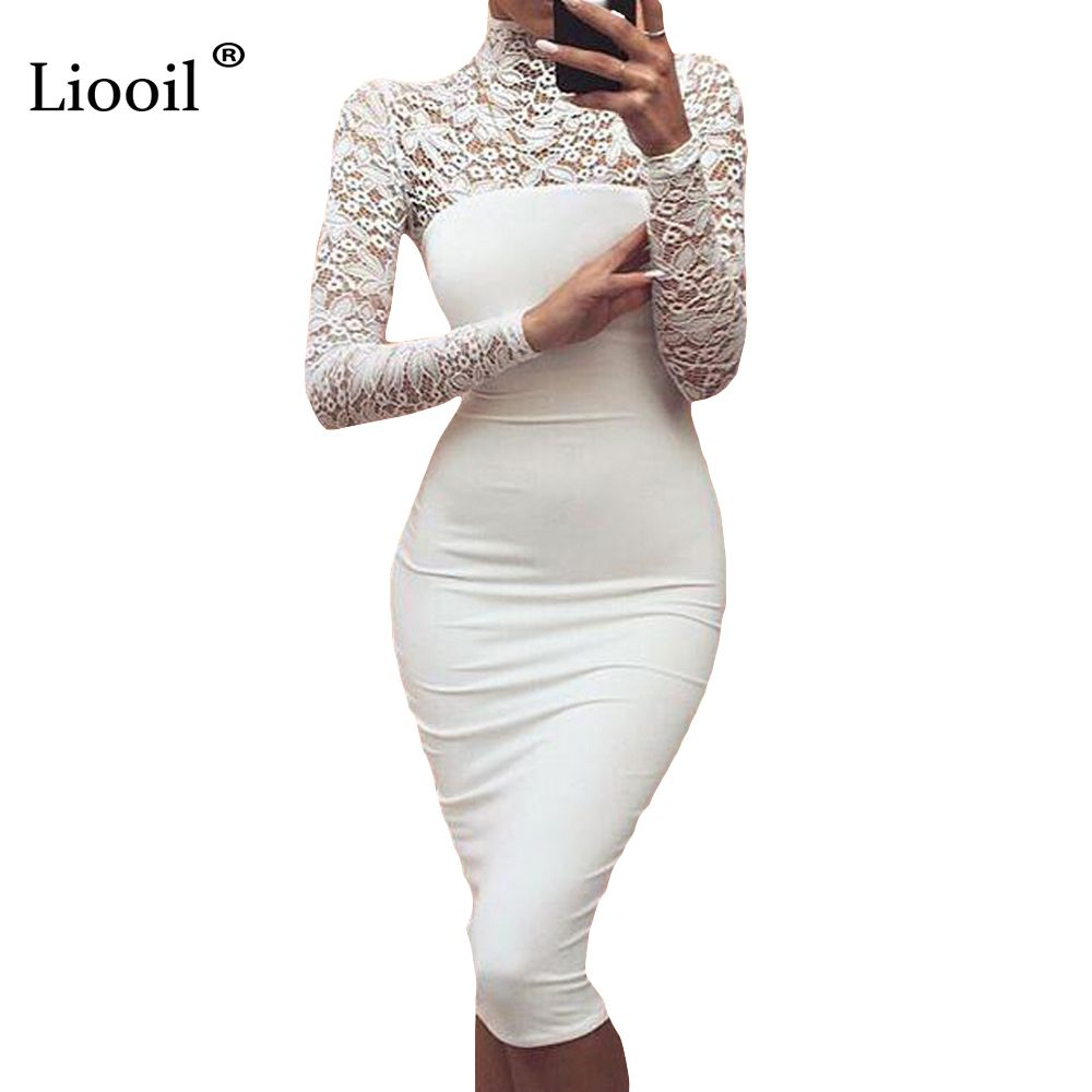 Sexy women white lace dress new winter turtleneck long sleeve red