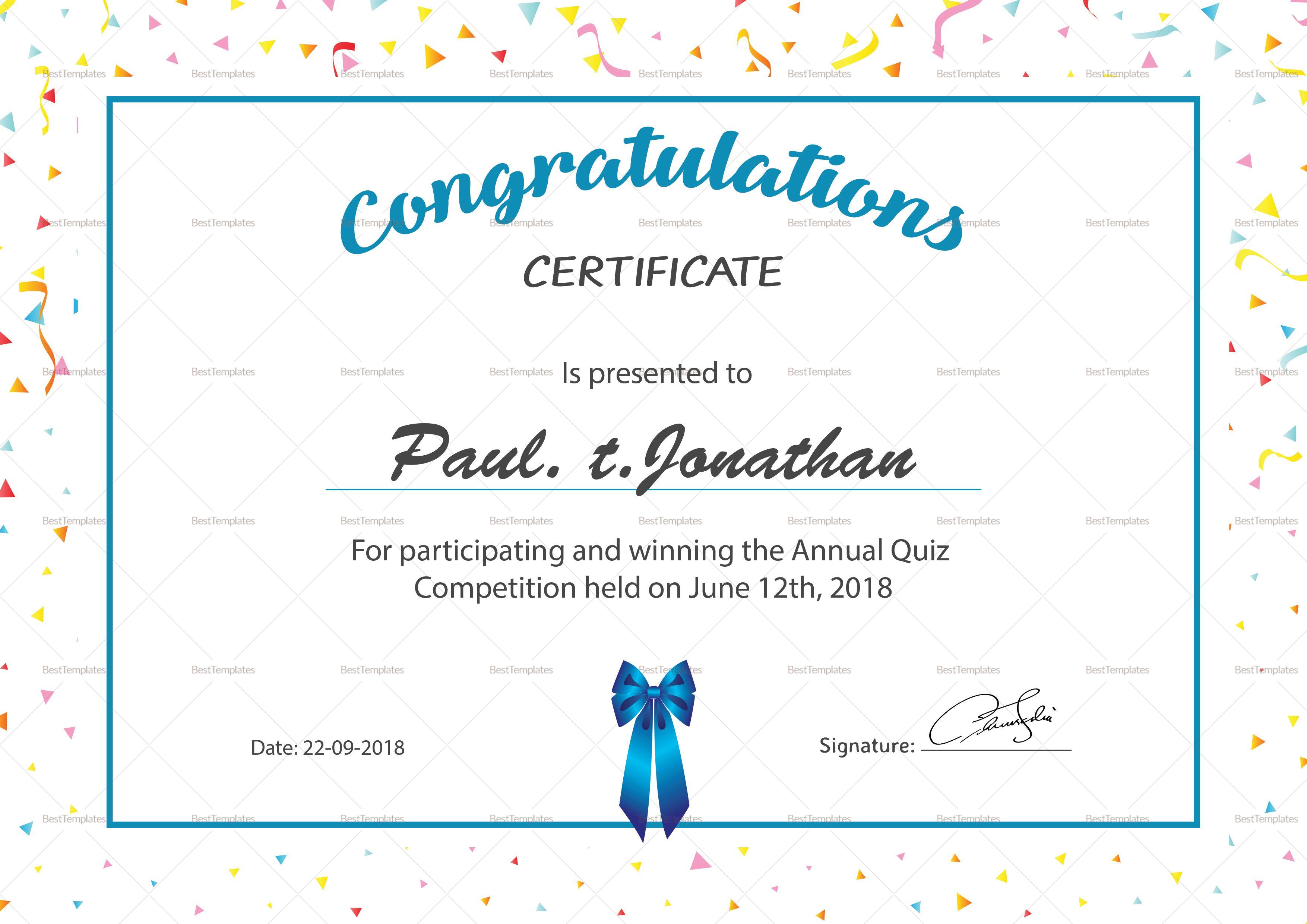 Simple Participant Congratulations Certificate Template Certificate Design Template Word Template Microsoft Word Document