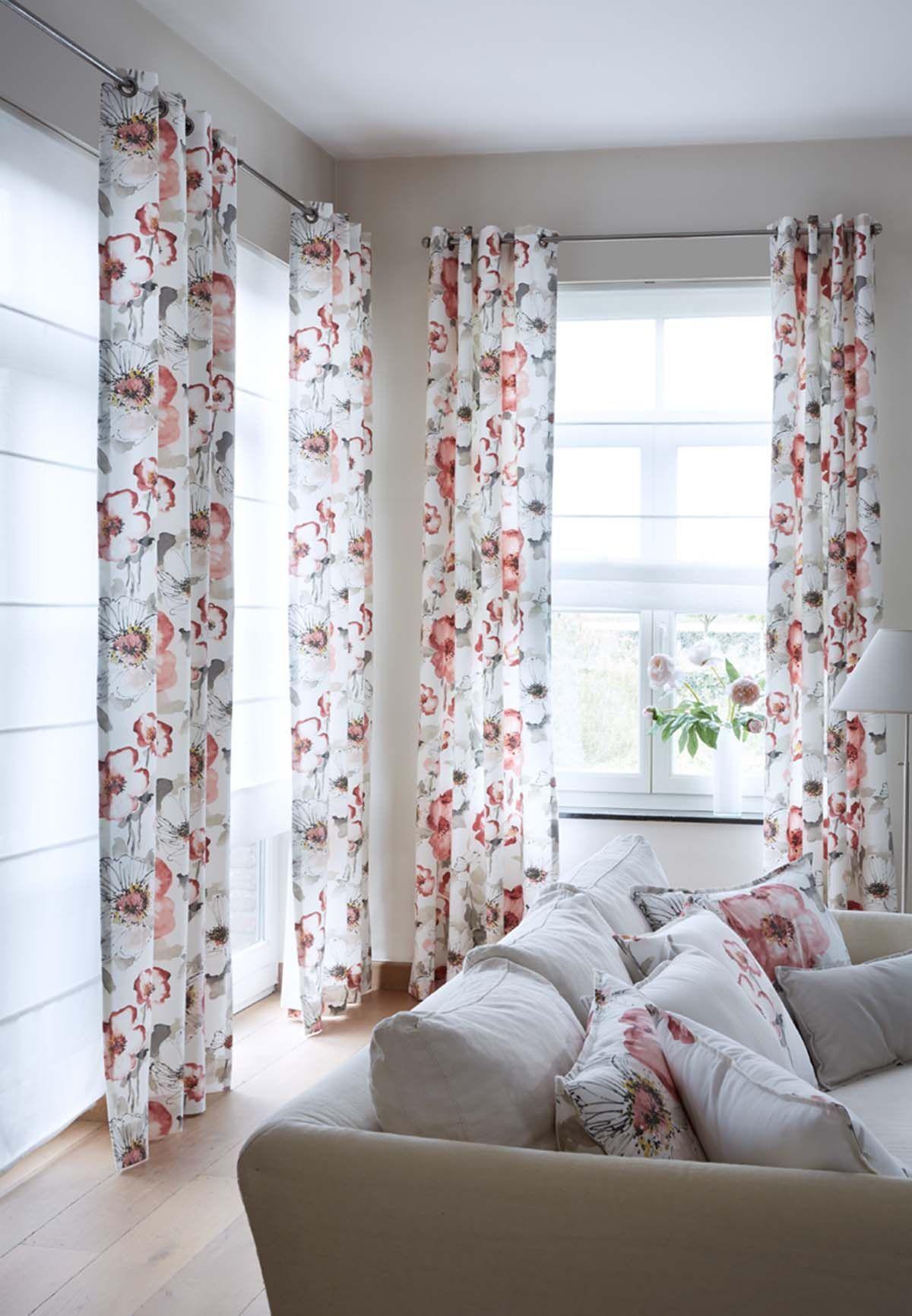 Rideaux tissu motifs fleuris florentis et voilages - Double rideaux heytens ...