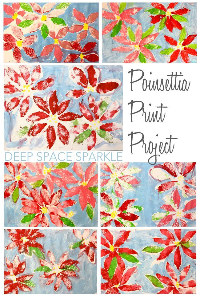 Poinsettia Print Project | The Purple Couch -Art Projects ...
