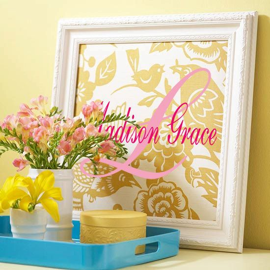 Boy or Girl Fancy Monogram Initial with Name 2 colors Vinyl Wall Art ...