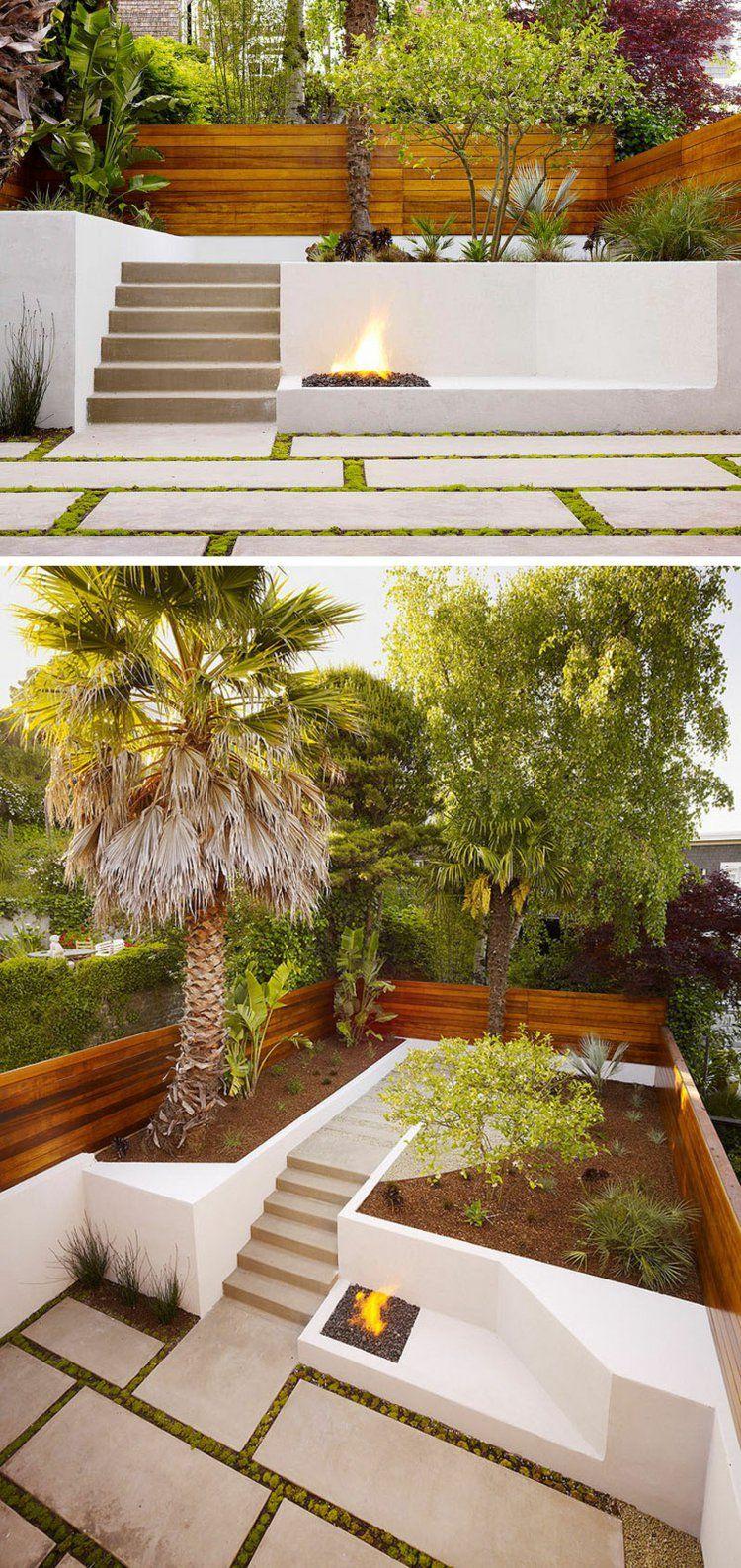 terrasse sur terrain en pente marches en pierre dallage sol assorti foyer extrieur et palmiers gants