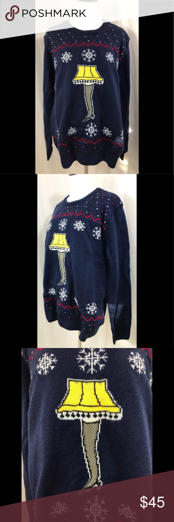 Holiday Christmas Story Lamp Sweater Lights Up! NWT