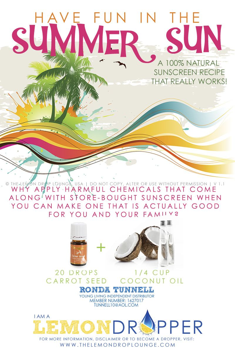 Sunscreen without chemicals! If you aren't a member of Young Living, I can help!
