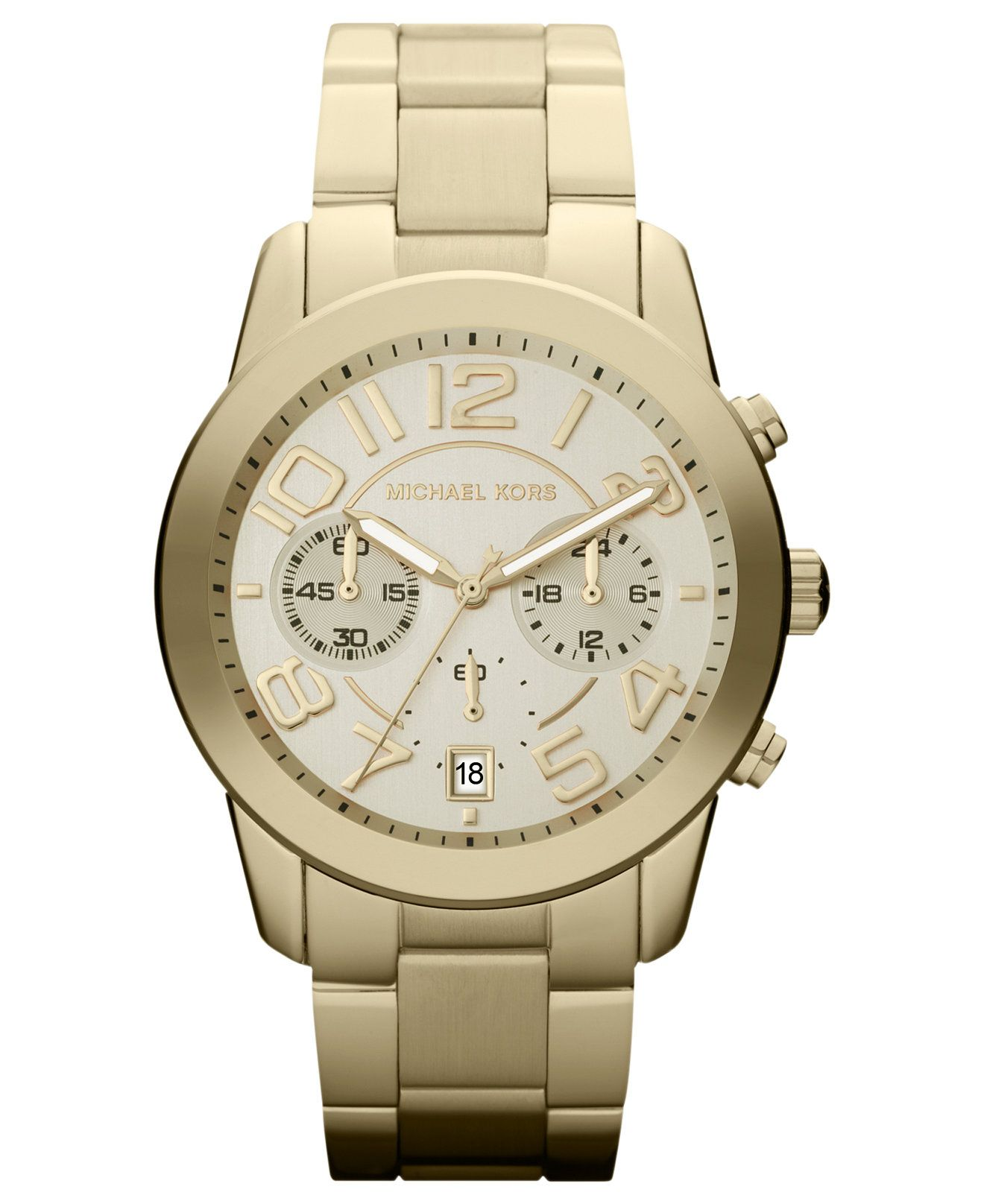 Michael Kors Women's Chronograph Mercer Gold-Tone Stainless Steel Bracelet Watch 42mm MK5726 - Watches - Jewelry & Watches - Macy's
