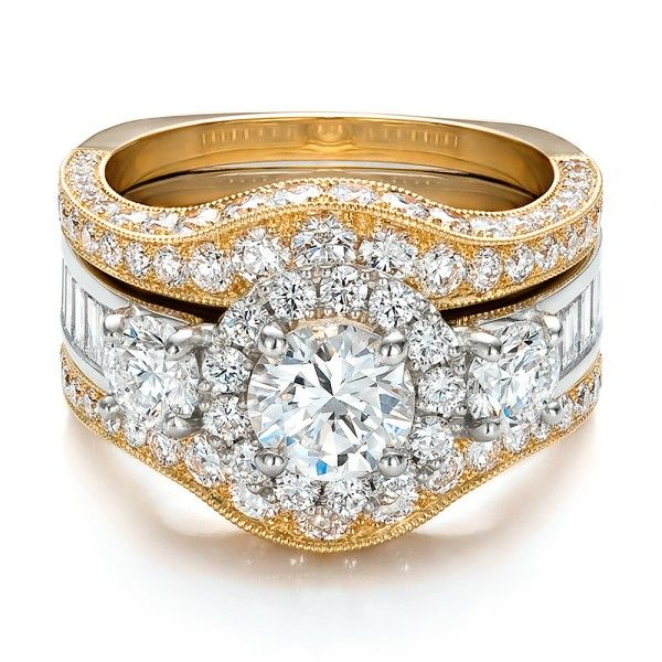 Estate TwoTone Wedding and Engagement Ring Set Engagement Ring