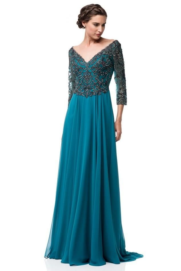 7ee061ace96 Teal Embellished A Line Long evening gown Chiffon 3 4 sleeves mother ...