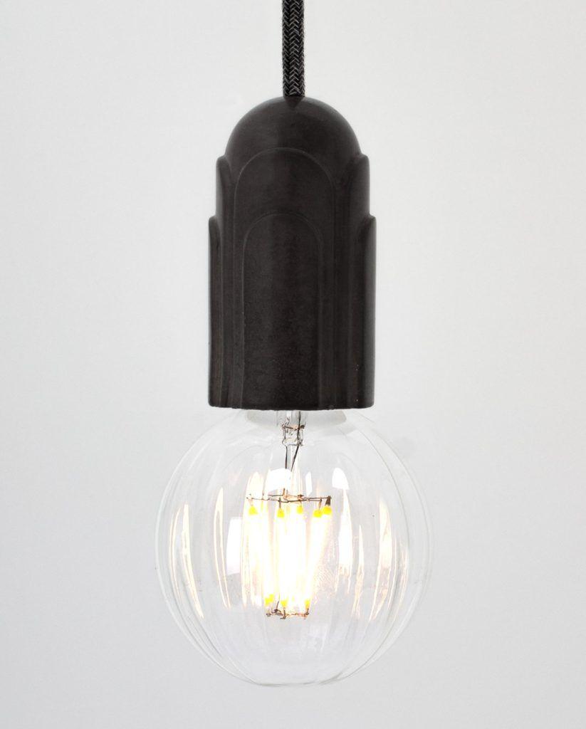 Art Deco Brown Concrete Black Woven Cable Concrete Deco Lamp Decor