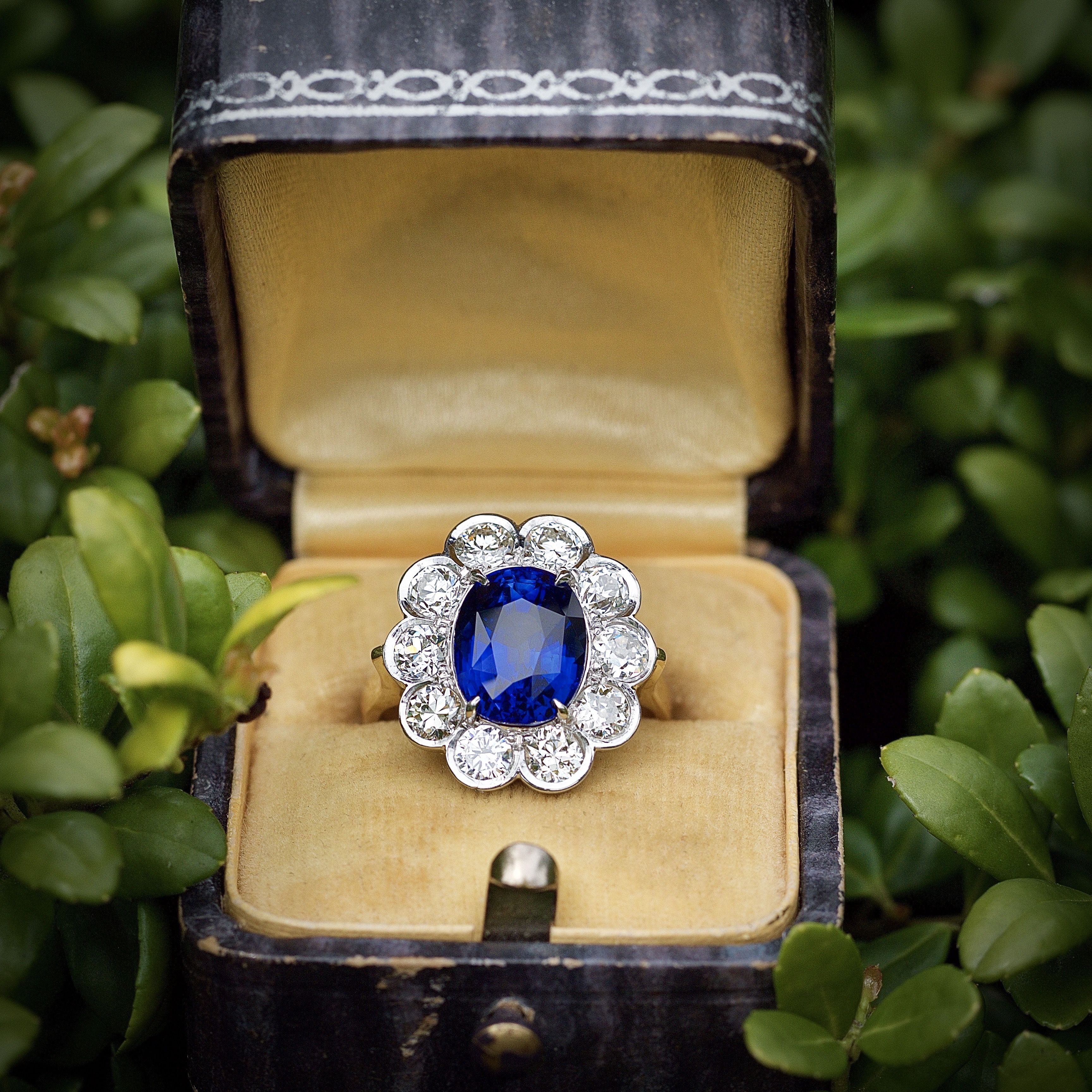 Royal Blue Sapphire and Diamond Ring GIA Cert 4 Carat