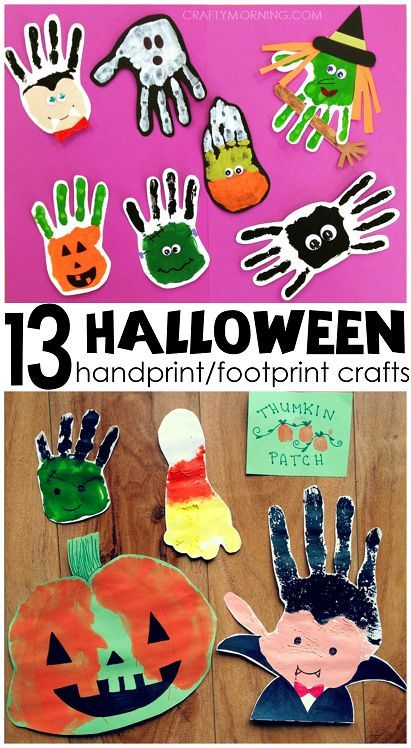 Adorable Handprint Footprint Halloween Crafts For Kids To