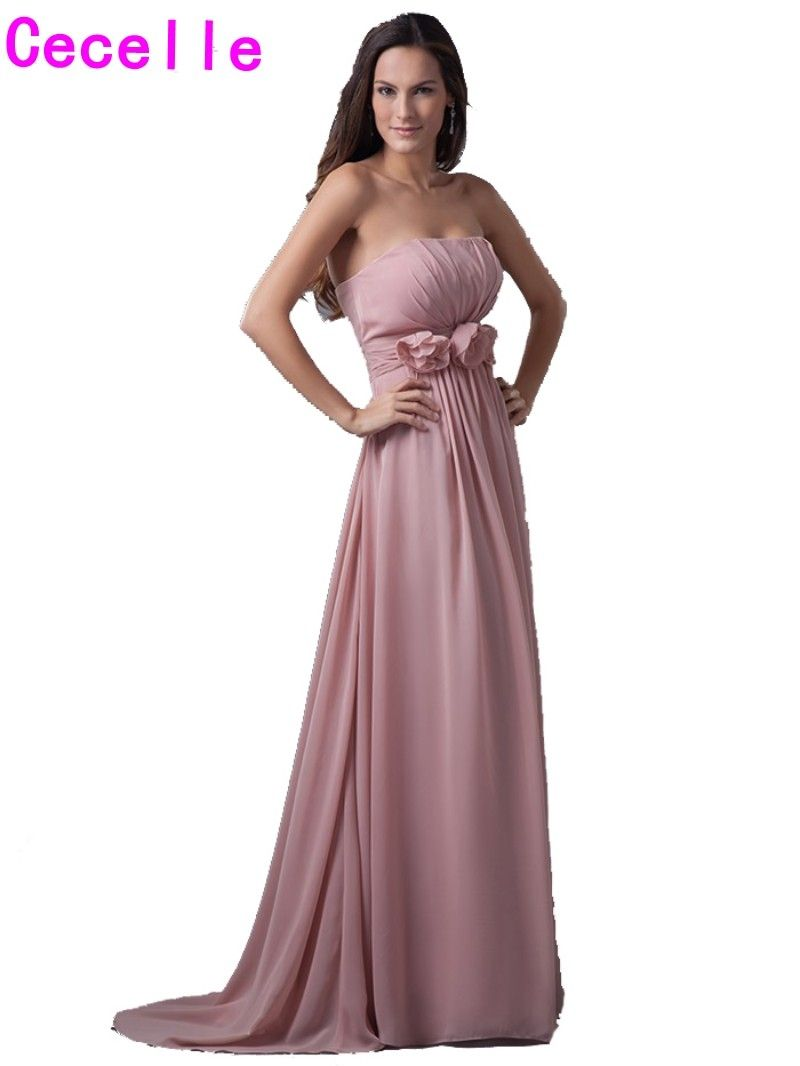 Dusty rose pink long bridesmaid dresses 2017 real strapless pleats dusty rose pink long bridesmaid dresses 2017 real strapless pleats chiffon flowers women formal beach wedding ombrellifo Gallery