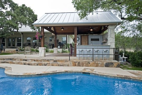 Metal pool buildings designs rustic yet refined pool for Pool design with gazebo