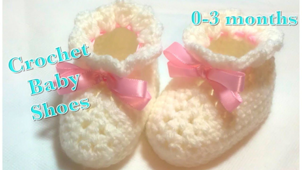 5c10956529f1 Crochet baby booties or baby shoes for 0-3 months baby fast and easy to do   104 - YouTube