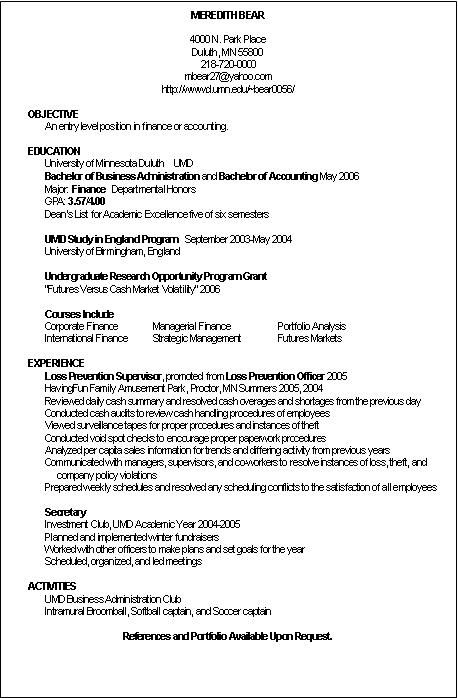 Accounting Resume Examples Entry Level Accountant Resumes